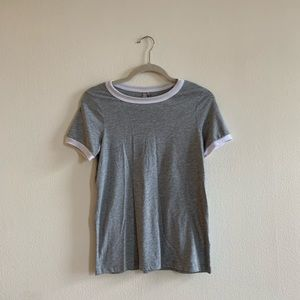 NEW ASOS grey t-shirt with white sporty ribbing